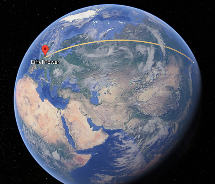Ortodrómica de París a Toquio (Google Earth)