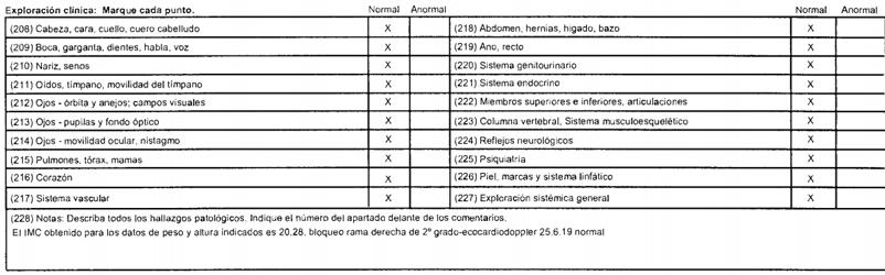 Informe examen médico clase 1